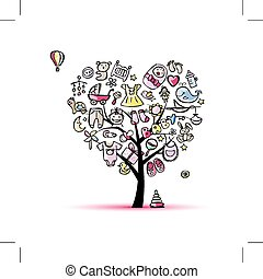 Heart shape tree with toys for baby girl Vector illustration...