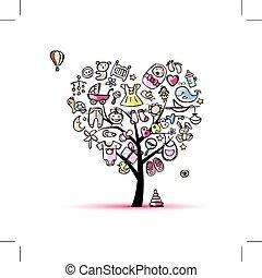 cuore, forma, albero, con, giocattoli, per, bambino,...