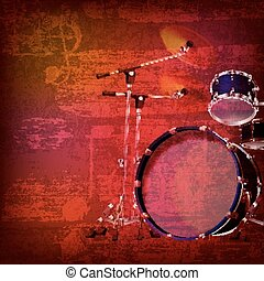 abstract grunge background with drum kit - abstract red...