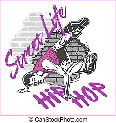 Hip hop dancer on grunge background - vector illustration...