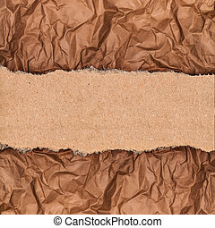 a piece of kraft paper on the background of crumpled paper