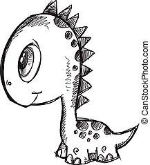 Doodle Sketch Dinosaur Illustration