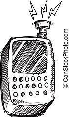 Doodle Sketch Cell Phone  Vector