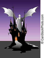 Winged Vampire - A Winged Vampire Woman on the battlements...