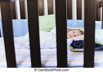 recem nascido, bebê, sono, Berço
