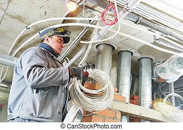 electrician worker - line electrician builder engineer...