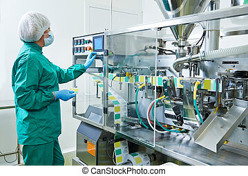 pharmaceutical factory worker - pharmaceutical factory woman...