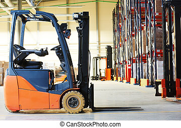 forklift loader stacker truck at warehouse - forklift loader...