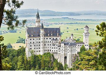 Neuschwanstein German castle - Neuschwanstein castle with...