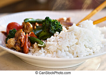 Stir Fried vegetables and chicken with rice Shallow DOF