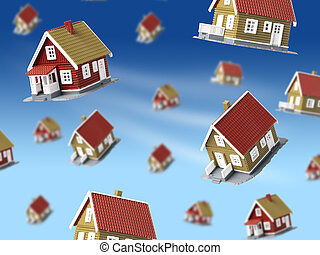 Lot of houses falling from sky.
