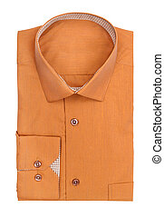 Mens ocher shirt on a white background