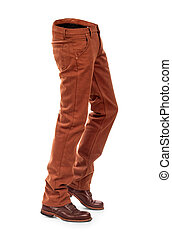 empty voluminous e jeans with boots on a white background