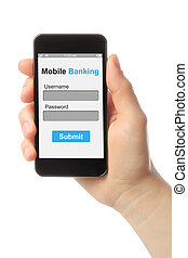 Hand holding smart phone with mobile banking login box on...
