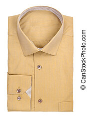 Mens light ocher shirt on a white background