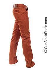 empty voluminous brown jeans on a white background