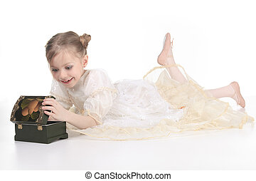 Beauty Ballerina young girl over white background