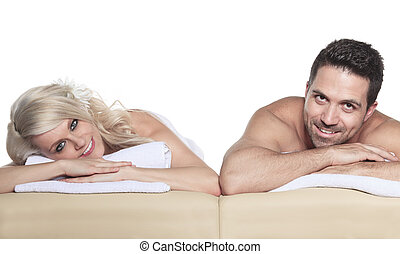 Two adult receiving massage in studio white background