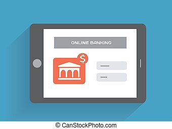 Tablet pc with online banking icon on the screen Flat design...