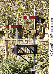 signal gantry on a small scale railway