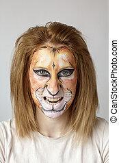 cara, Pintura, león,