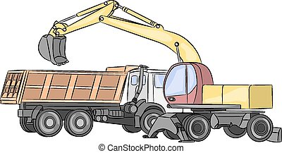 Vector. Excavator in action. - Excavator loads the ground in...