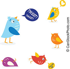 Colored twitter birds set