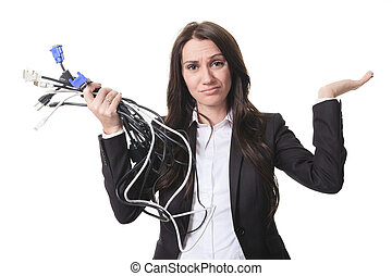 A business woman with wire in his hand.