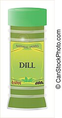 Dill - A Dill herb and spice jar isolated on a white...