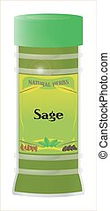 Sage - A Sage herb and spice jar isolated on a white...