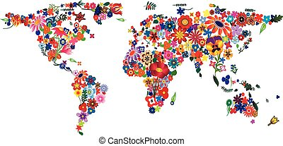 Flower World Map - World map made of plenty colourful...