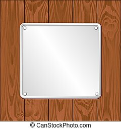 plaque - white plaque on dark wooden planks