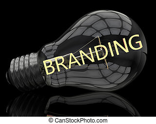 Branding - lightbulb on black background with text in it 3d...