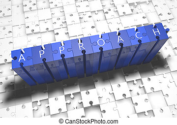 Approach - puzzle 3d render illustration with block letters...