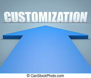 Customization - 3d render concept of blue arrow pointing to...