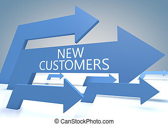 New Customers render concept with blue arrows on a bluegrey...
