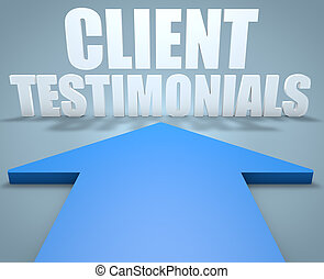 Client Testimonials - 3d render concept of blue arrow...