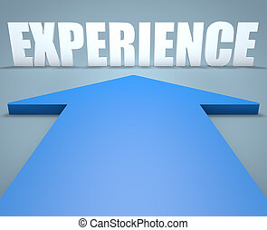 Experience - 3d render concept of blue arrow pointing to...