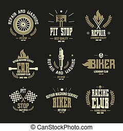 Car races and service badges and logo in retro style Graphic...