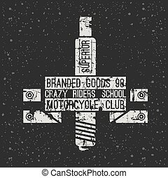 Emblem motorcycle racing club in retro style Graphic design...