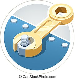 Wrench screw nut. Eps10 vector illustration. Isolated on...