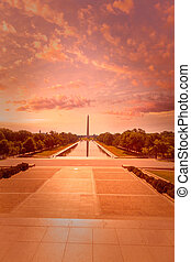 Washington Monument sunrise reflecting pool