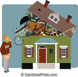 Packing a house - Confused man holding a small box, looking...