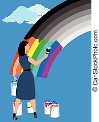 Optimism - Woman painting monochrome rainbow in bright...
