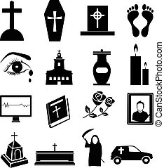 funeral icons set - funeral vector icons set in black.