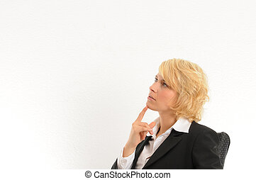 Business woman thinking - Young business woman thinking...