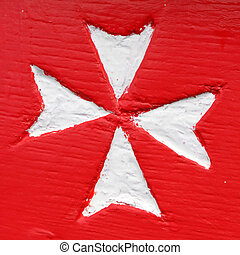 Civil ensign of Malta - detail from colorful maltese boat