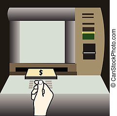 ATM machine money withdraw vector illustration