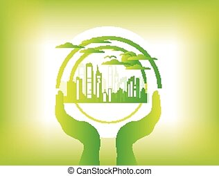 Eco Friendly green city background