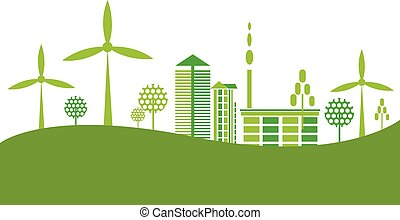Eco Friendly green city background vector illustration.